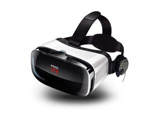 MEMO Virtual Reality Headset - With Remote Controller Immersive 3D VR Glasses Virtual Reality Headset with Stereo Headphone and Adjustable Headstrap for 3D Movies & VR Games 105° FOV 4.5-6.0in Screen