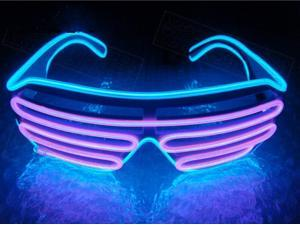 CORN EL Wire Neon LED Sound Control Glasses Rave Costume Party DJ Discos Night Club SunGlasses Birthday Party Decor - Neon Blue and Pink