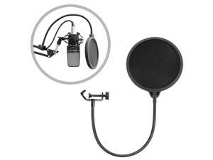 CORN NB-35 Black Microphone Suspension Boom Scissor Arm Stand with Mic Clip Holder and Table Mounting Clamp & NW(B-3) Black Pop Filter Windscreen Mask Shield with Stand Clip Kit