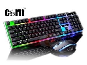CORN New Mechanical Feeling Multicolor Backlit Wired Gaming Keyboard And 1600 DPI Mouse Combo Keyboard and Mouse Set