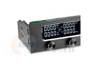 CORN STW-6041 PC 5.25 Inch Drive Bay Full Brushed Aluminum 4 Channel PWM Fan Controller with LCD Screen