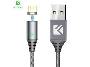 FLOVEME Universal Magnetic 3 in 1 USB Charging Cable Lightning USB Type C Micro Cord Cable for iPhone Samsung HTC And More - Black