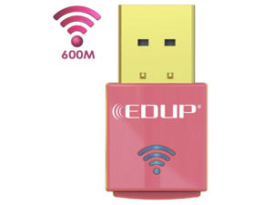 EDUP WiFi Adapter AC600Mbps, USB Wireless Adapter Dual Band AC600Mbps 5GHz and 2.4GHZ (433Mbps/150Mbps) Wifi Dongle for Win 10/Win8.1/Win7/WinXP/Win Vista/Mac OS10.6-10.13(Pink)
