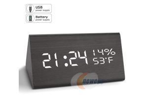 VEPOWER Alarm Clock, Digital Clock, 3 Brightness Levels, 3 Sets AC Alarm Clocks Bedrooms, Electronic USB Large Led Display Dual Time Temperature Humidity Heavy Sleepers