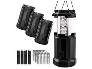 Etekcity 4 Pack Portable LED Camping Lantern with 12 AA Batteries - Survival Kit for Emergency, Hurricane, Power Outage (Black, Collapsible) (CL30)