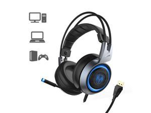 SOMIC G951 USB Plug Stereo Sound Gaming Headset for PC, PS4, Laptop, with Vibration Bass, Mic &RGB LED lights (Black)