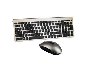 Lenovo KM5922 Ergonomic Design, Cool Exterior Portable and Ultrathin Wireless Silent Keyboard And Mouse Combo For Office And Game, Support PC and Laptop,1200DPI Laser Mouse  - Gold