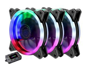 upHere RGB Series Case Fan RGB123-3, Wireless RGB LED 120mm Fan, Quiet Edition High Airflow Adjustable Color LED Case Fan PC Cases-3 Pack