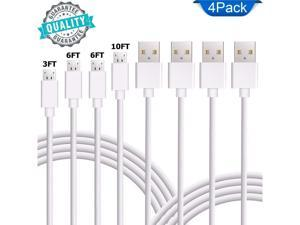 CORN Micro USB Cable Android 4 Pack (1 x 3ft, 2 x 6ft, 1x10ft) USB to Micro USB Cables High-Speed USB 2.0 Sync and Charging Cables for Samsung, HTC, Motorola, Nokia, Kindle, MP3, Table