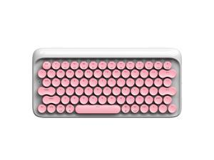 Lofree Dot All 78 Non-conflicting Keys, Ergonomic Design, Retro Exterior White Backlit LED Light  USB Wired and Bluetooth Gateron Blue Mechanical Keyboard - Pink