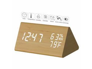 TooTa Digital Clock, 3 Alarm Settings, with Wooden Electronic LED Time Display, Dual Temperature & Humidity Detect, Ideal for Bedroom, Bedside Kids, Batteries not Needed