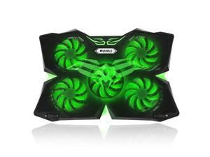 """CORN 5 Fans Gaming Laptop Cooling Pad for 12""""-17"""" Laptops with LED Lights, Dual USB 2.0 Ports, Adjustable Height at 1400 RPM, Green - Fan and Light can be Adjusted Independently"""