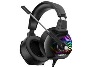 ONIKUMA Stereo Gaming Headset for PC, PS4, Xbox One, Playstation Games, Noise Cancelling Headphones for Mac, Laptop, Nintendo Switch - RGB LED Lights, 7.1 Surround Sound, Soft Ear Pads, Volume Control