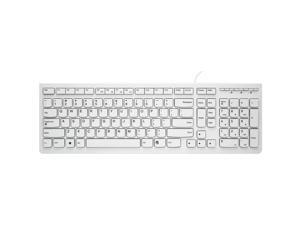 Lenovo K5819  Ergonomic Design,Cool Exterior Waterproof USB Wired Keyboard, Ultra-thin and Portable, Chiclet Keycaps., Multimedia Shortcuts Keys - Classic White