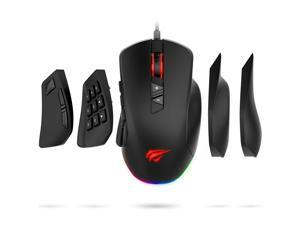Havit Gaming Mouse 5000 DPI Computer Ergonomic Wired Mice with 14 Programmable Buttons Interchangeable Side Plates (8 Buttons/ 8+6 Side Buttons Mouses), 2 Replaceable Right Plates for Laptop PC Gamer