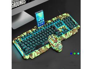 Elegant HUAJI Wired Keyboard Computer Waterproof USB Plug and Play Standard Keyboard Green