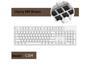 iKBC C210  104 Keys  Mechanical Keyboard with Cherry MX Brown Switch, White PBT Double Shot Keycap, N-Key Rollover and 6 Anti-ghosting Keys( No Light Version)