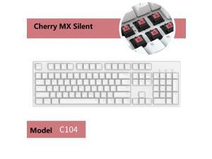 iKBC C210  104 Keys  Mechanical Keyboard with Cherry MX Silent Red Switch, White PBT Double Shot Keycap, N-Key Rollover and 6 Anti-ghosting Keys( No Light Version)