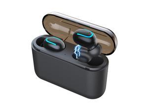 Bluetooth 5.0 Headphone, Wireless Earbud, True Wireless Earphone Deep Bass 3D Stereo Sound Headphone Noise Cancelling Headset with Portable Charging Case ,Mini & Comfortable Design (Dual Earbud)