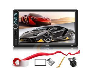 CORN Double Din Car Stereo Upgrade 7 inch Touch Screen Car Radio MP5/4/3 Player FM Radio Video Audio Compatible with Bluetooth Support Rear-View Camera Mirror Link Android & iPhone
