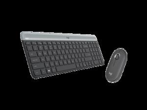 Logitech MK470 2.4 GHz Wireless Silent Keyboard and Mouse Combo,Pebble Edge Shape Design - Black