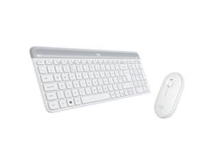 Logitech MK470 2.4 GHz Wireless Silent Keyboard and Mouse Combo,Pebble Edge Shape Design - White