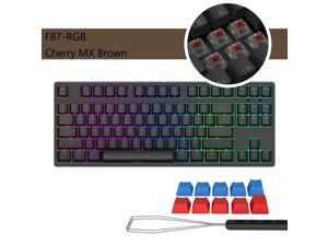 iKBC  F87-RGB Cool Exterior TKL USB Wired RGB N-key Rollover Mechanical Keyboard  For Office And Game, Cherry MX  Brown - Black