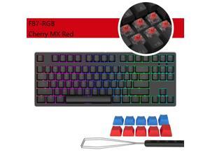 iKBC  F87-RGB Cool Exterior TKL USB Wired RGB N-key Rollover Mechanical Keyboard  For Office And Game, Cherry MX  Red - Black