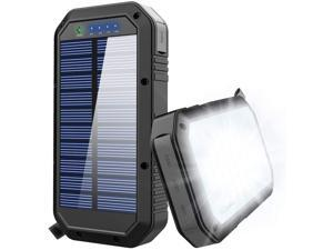 CORN Solar Charger, 25000mAh Battery Solar Power Bank Portable Panel Charger with 36 LEDs and 3 USB Output Ports External Backup Battery for Camping Outdoor for iOS Android (Black)