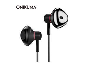 ONIKUMA A19 In Ear Music Earphones Wired 3.5mm Heavy Bass Sound Earbud Headset with Microphone for iPhone Samsung Cell phone Mp3