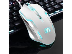 XinMeng XM-M398 7D 2000DPI Mamba New Gen. 6 Buttons Wired USB Optical Professional Gaming Mouse,Breathing  Light-White