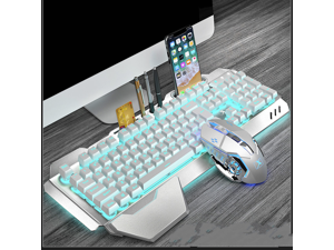 CORN Technology K680 Ergonomic Design,Cool Exterior Waterproof Wired 26 Anti-ghosting Keys Mechanical Feeling, Ice-Blue Backlit Keyboard And 2400DPI Mouse Combo For Office And Game -Silver White