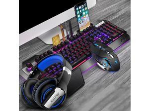 CORN Technology K680 Ergonomic Design,Cool Exterior Waterproof Wired 26 Anti-ghosting Keys Mechanical Feeling, Rainbow Backlit Keyboard And 2400DPI Mouse and Bluetooth Headset Combo-Black