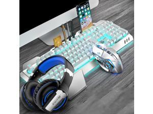 CORN Technology K680 Ergonomic Design,Cool Exterior Waterproof Wired 26 Anti-ghosting Keys Mechanical Feeling, Ice-blue Backlit Keyboard And 2400DPI Mouse and Bluetooth Headset Combo-Silver White