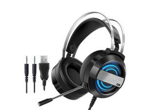 CORN Technology Q9  Gaming Headset with - Steel Frame - Signature Memory Foam, noise-cancellation microphone, 7-color Backlit(USB+MIC+Speaker Plug)