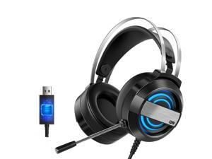 CORN Technology Q9  7.1 Channel Gaming Headset with - Steel Frame - Signature Memory Foam, noise-cancellation microphone, 7-color Backlit( USB Adapter)
