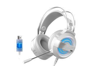 CORN Technology Q9 7.1 Channel Stereo Gaming Headset with - Steel Frame - Signature Memory Foam, noise-cancellation microphone, 7-color Backlit(USB Adapter)-White