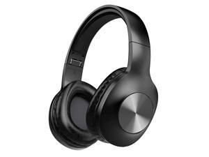 Bluetooth Headphones, Letscom Wireless Headphones Over Ear with Hi-Fi Sound Mic Deep Bass, 100 Hours Playtime and Soft Memory Protein Earpads for Travel Work TV PC Cellphone - Black