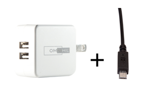 OMNIHIL 2-Port USB Charger & Micro-USB Cord for NES Classic Mini AC Charger Adapter For Nintendo NES Classic Mini Edition