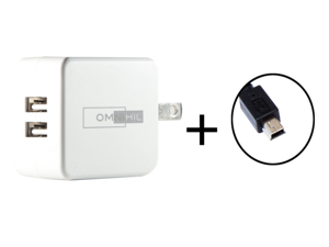 OMNIHIL 2-Port USB Charger & Mini-USB Cord for Kocaso MID M870 M870 b M870w M836 M836 b M836w WIFI Tablet PC