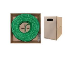 Bulk Shielded Cat6 Green Ethernet Cable, STP (Shielded Twisted Pair), Solid, Spool, 1000 foot