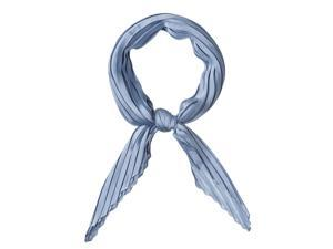 Women Pleated Rhombus Head Scarf Wraps Scarves Neckerchief Bandana Solid Color Blue