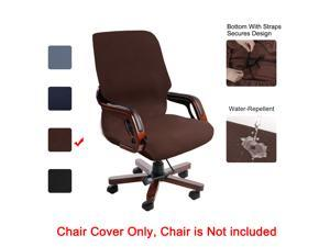 Stretch Waterproof Office Chair Cover Jacquard Stripe Computer Chair Covers High Back Desk Chair Slipcovers For Universal Rotating Boss Chair With Armrest Large Size Black Newegg Com