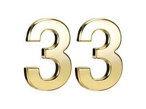 Self Adhesive House Number, 3.94 Inch ABS Plastic Number 3 for House Hotel Mailbox Address Sign Gold Tone 2 Pcs