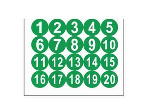 Round Number Stickers, 50mm Dia Number 1-20 Self Adhesive PVC Label Waterproof White Word(Green Background)