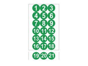 Round Number Stickers, 75mm Dia Number 1-21 Self Adhesive PVC Label Waterproof White Word(Green Background)