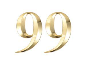 Self Adhesive House Number, 2.76 Inch ABS Number 9 3D Design for House Hotel Mailbox Address Sign Gold Tone 2 Pcs