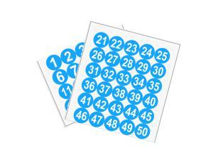 Round Number Stickers, 50mm Dia Number 1-50 Self Adhesive PVC Label Waterproof White Word(Blue Background)