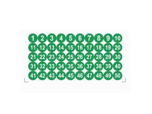 Round Number Stickers, 25mm Dia Number 1-50 Self Adhesive PVC Label Waterproof White Word(Green Background)