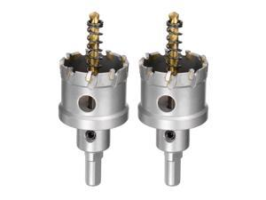 40mm Carbide Hole Cutter, Hole Saws for Stainless Steel Sheet Metal, Non-slip Triangular Shank Limit Step, with Titanium Coated Center Drill, 2pcs